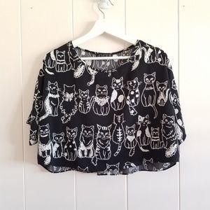 Cat Short-Sleeve Crop Top
